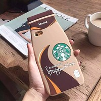 Thunderous Pink Starbucks Coffee Ice Cream Silicone Back Cover Case for Apple iPhone 6 4.7 inch