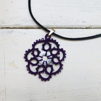Tatted lace necklace, purple pendant, women's accessories, women's jewelry, handmade necklace, steampunk, victorian era, lace jewelry