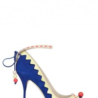 Remmie royal blue appliqu� suede pumps