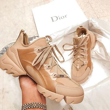 Dior D-Connect lace-up platform casual sneakers shoes