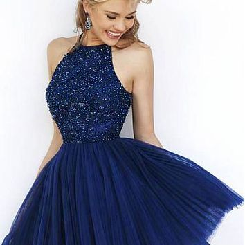 [67.49] Elegant Tulle Jewel Neckline A-line Homecoming Dresses with Beadings & Rhinestones - Dressilyme.com