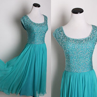 Teal Jewel Green Cocktail Dress / Chiffon Dress / by aiseirigh