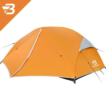 Bessport 3 and 2 Person Backpacking Tent Lightweight, Easy Setup 3 Season Camping Tent -Two Doors, Waterproof, Anti-UV Large Tent for Family, Outdoor, Hiking 2 Person-orange