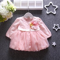 2016 new girls baby spring autumn jacket for girl clothes lovely mesh baby princess jacket newborn flower toddler outerwear coat