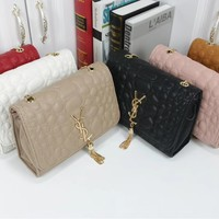 """YSL"" Fashion All-match Pebbles Texture Metal Chain Single Shoulder Messenger Bag Women Solid Color Flip Small Square Bag"