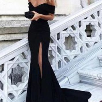 Sexy Prom Dresses Off-the-shoulder Sheath Column Long Black Prom Dress Evening Dress H2520