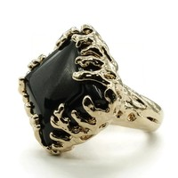 Coral Wrapped Offset Square Simulated Onyx Stone Fashion Ring in Gold Tone
