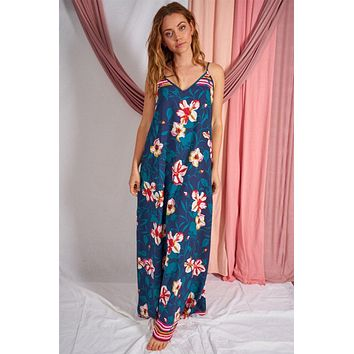 Bloom With A View Navy Blue Floral Print Maxi Dress