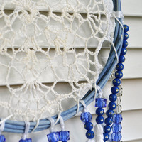 Gypsy Dream Catcher, Vintage Lace Doily Dreamcatcher, Wedding Decor, Vintage Wall Hanging, Boho Style, White, Navy and Blue, Bohemian Decor