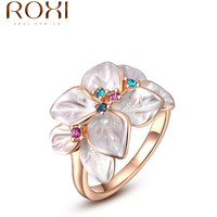 Aliexpress rose gold plated colorful flower ring with AAA zircon fashion ring jewelry for women anel Christmas gifts 2010228290
