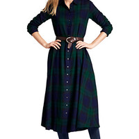Women's Long Sleeve Flannel Shirt Dress