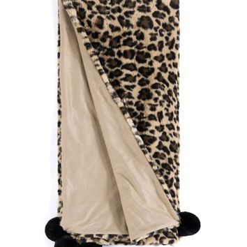 Jill Leopard Pom Pom Throw