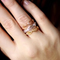 SMJEL New Trendy Lovely DNA Ring for Women Biology Chemistry Molecule Jewelry Size 6.5 Minimalist Gift