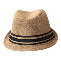 ROMWE Kintted Striped Khaki Hat