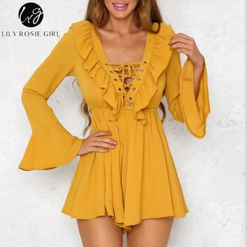 Lily Rosie Girl Lace Up Deep V Sexy Women Playsuits Jumpsuit Backless Ruffles Neck Long Sleeve Summer 2018 Women Chiffon Rompers