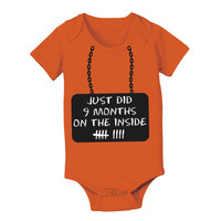 Just Did 9 MONTHS - funny cool prison uniform newborn gift boy girl jumper creeper new Infant - Baby Orange ONE-PIECE DT0283