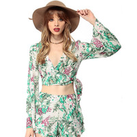 Green Tropical Print Trumpet Sleeve V-Neck Cropped Top
