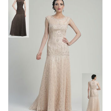 Sue Wong N2407 Champagne Embroidered Cap Sleeve Pleated Long Dress Fall 2015