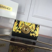 VERSACE WOMEN'S LEATHER INCLINED CHAIN SHOULDER BAG