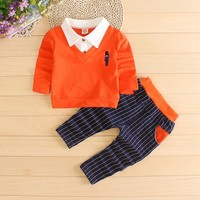 2016 Fashion Baby Boy Clothes Sets Gentleman rompers +pants Suit Long Sleeve Kids Boy Clothing Set kids clothes