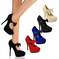 LADIES WOMENS PARTY BOW HIGH HEELS PLATFORMS STILETTOS PUMPS COURT SHOES SIZE