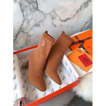 Hermes Knit Ankle Boot Shoes