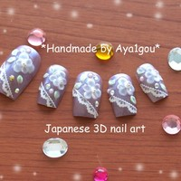 Holiday nails, press on nails, purple, lilac, lavender, Japanese 3D nail, Japanese fashion, sweet lolita, bridal, wedding, lolita accessory