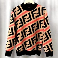 Fendi new round neck sweater double F hit color striped jacquard sweater