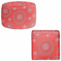 Foot Stools Poufs Chairs Round or Square from DiaNoche Designs by Monika Strigel Home Decor and Unique Bedroom Ideas - Infinity Coral