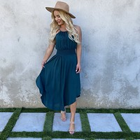 Captivate Me Teal Midi Dress