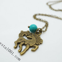 Handmade Natural turquoise necklace jasper charms energy horse necklace  chakra stone necklace energy necklace kids children necklace horse
