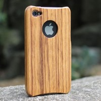 Unique Handmade Natural Wood Wooden Hard Case Cover for iPhone 4 4s -zebrawood