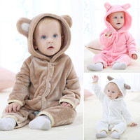 Cute Autumn Winter Baby Rompers Warm Flannel Long sleeve Baby Clothes Coral Fleece Girls Clothes Cartoon Jumpsuit Baby Boy Clothes Overall