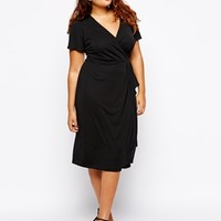 ASOS CURVE Wrap Dress With Bow Front In Longer Length at asos.com