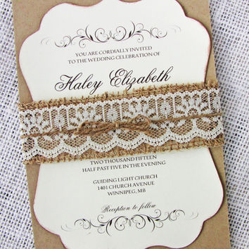 Lace Burlap Wedding Invitation, Rustic Wedding Invitation, Die-Cut Invitations, Ornate Wedding Invitation, Vintage Invitation Suite of 50