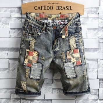 Denim Men Ripped Holes Shorts [3444984709213]