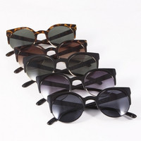 Cat Eye Half Frame Sunglasses - Black/Black, Black/Purple, Black/Green, Tortoise/Brown or Tortoise/Green