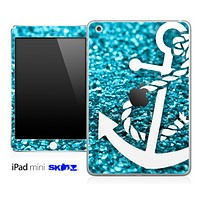 Glimmer Blue and White Anchor Skin for the iPad Mini or Other iPad Versions