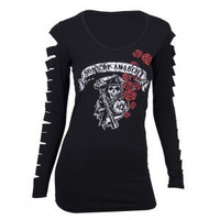 Sons of Anarchy Rose Reaper Lazer Cut Long Sleeved T-Shirt