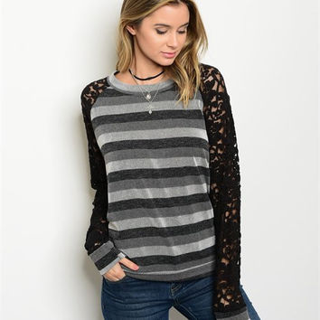 * BLACK GRAY WHITE LACE TOP