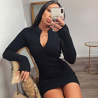 Women Ribbed Dress New Stand Collar Zipper Deep V-neck Solid Stretch Bodycon Pencil Party Mini Vestido