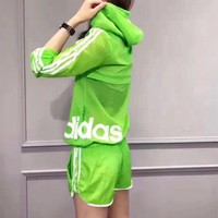 """Adidas"" Women Stripe Letter Print Long Sleeve Hooded Sunscreen Clothes Shorts Set Two-Piece Sportswear"