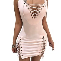 SEXY New Women Summer Lace Up Bandage V-neck Sleeveless Bodycon Slim Sexy Party Cocktail Short Mini Dress