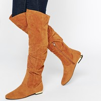 Daisy Street Tan Flat Over The Knee Boots at asos.com