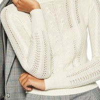 Topshop Cable Knit Sweater   Nordstrom
