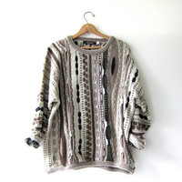 Vintage abstract sweater. Bill Cosby sweater. Oversized sweater. Slouchy jumper