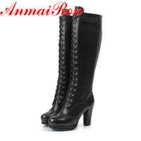 ANMAIRON High Quality Sexy Winter Boots Women Thigh High Boots New Lace Up Knee Corium Boot High Heel Retro Knight Boots