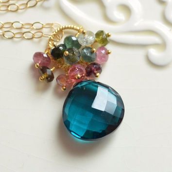 NEW Teal Gemstone Necklace, Tourmaline Cluster with Large Dark Quartz, Wire Wrapped, Gold Jewelry, Free Shipping