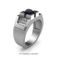 Mens Avant Garde 14K Matte White Gold 1.5 Ct Princess Cut Black Diamond Thorn Ring R583-14KMWGBD