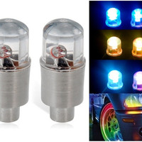 008 Color-changing Flashing LED Tire Light 2pc Set (Silver)